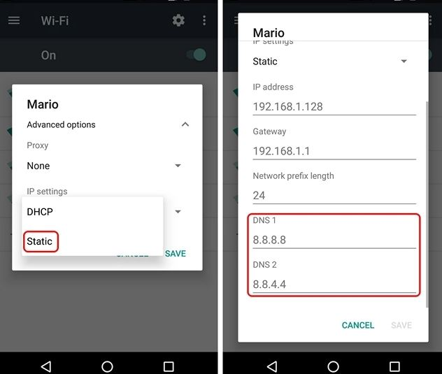 Reconfigure DNS Settings on Android Devices
